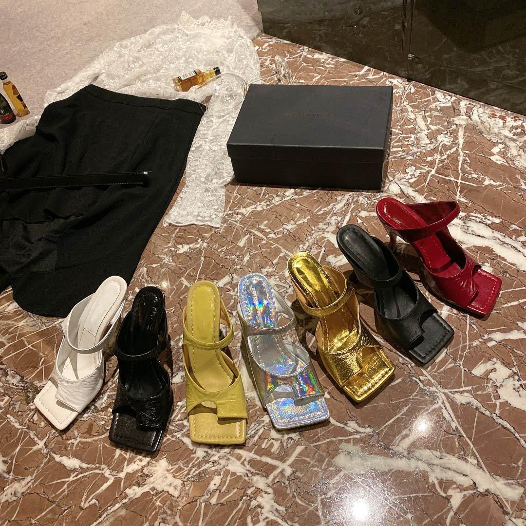 Sandali da donna in pelle classica in pelle Sandali Donne Fashion Beach Luxurys Designer 9.5cm Designer Sandalo con tacco alto Designer Designer Silly Silde con scatola Dimensione 35-41