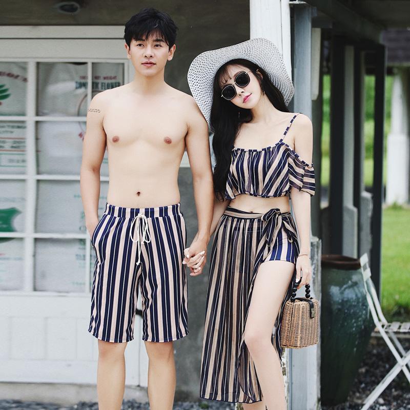 Swimwear Mulheres Infantil Striped Swimsuits para Casais Mulheres Bikini Mulher Men's Beach Wear