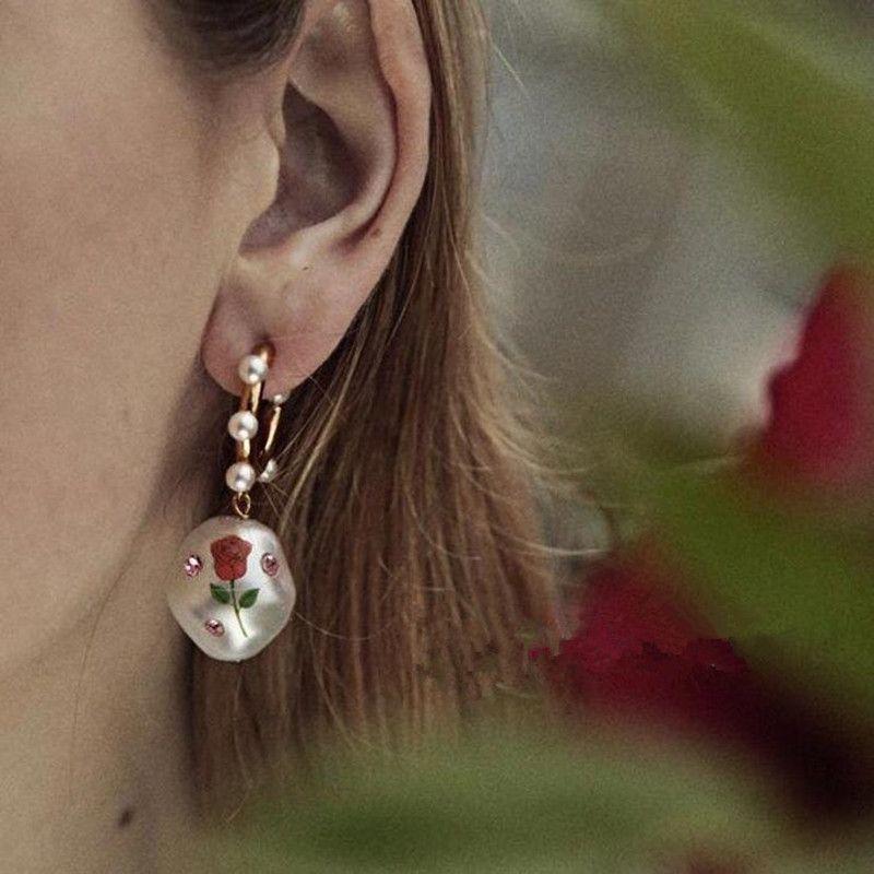 Pearl Print Rose Love Exquisite Anhänger Ohrringe Frauen Mode Persönlichkeit Ohrringe Festival Geschenk