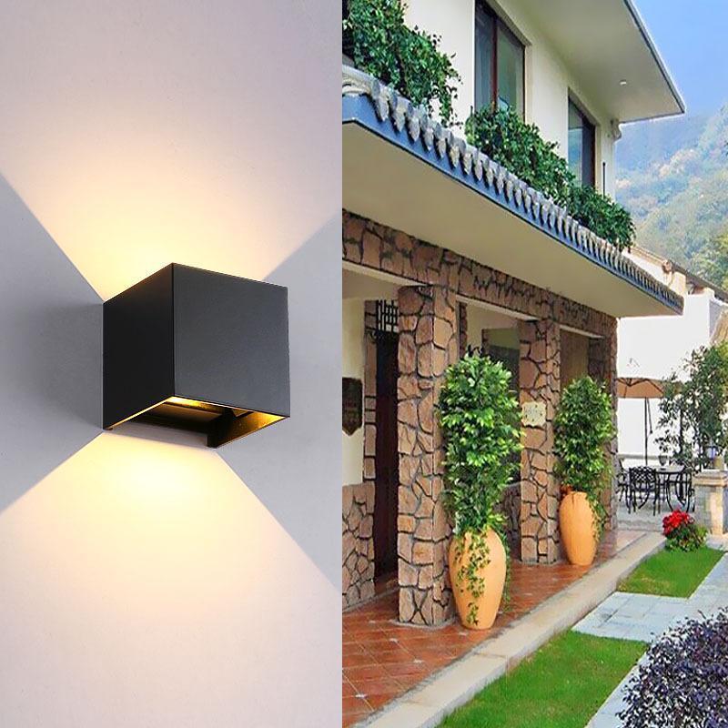 10W / 12W 조정 가능한 LED 벽 램프 IP65 방수 실내 야외 알루미늄 빛 표면 장착 큐브 정원 현관 램프