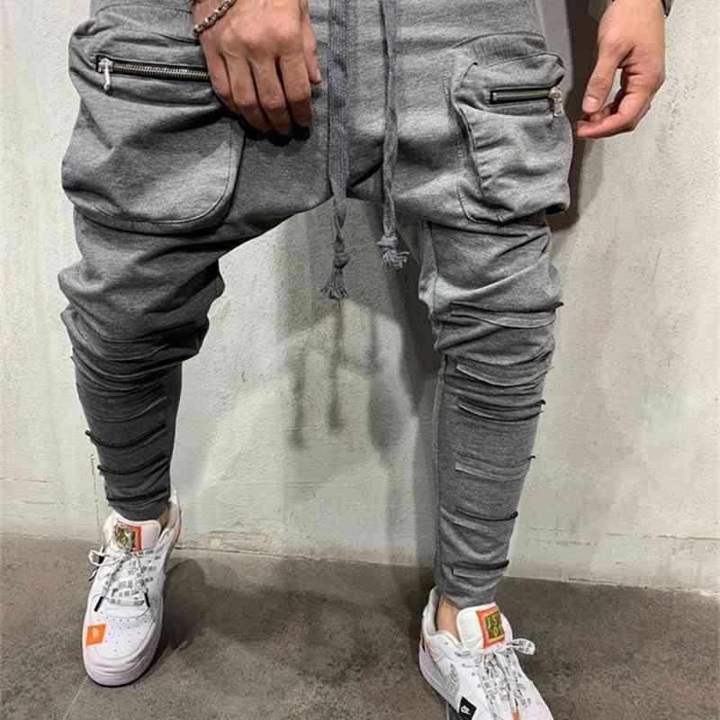2019 men's schoolbag pocket small foot zipper patch slim fit Sweatpants