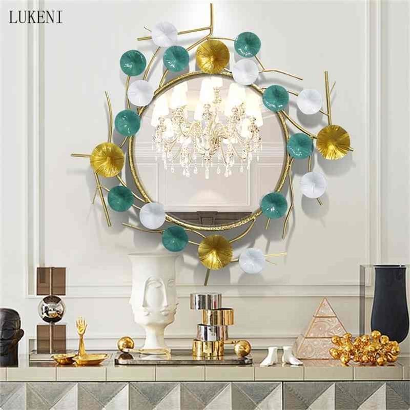 Fondo de vivienda de hierro labrado Comedor creativo Entrada de pared Baño Mirror decorativo 210414