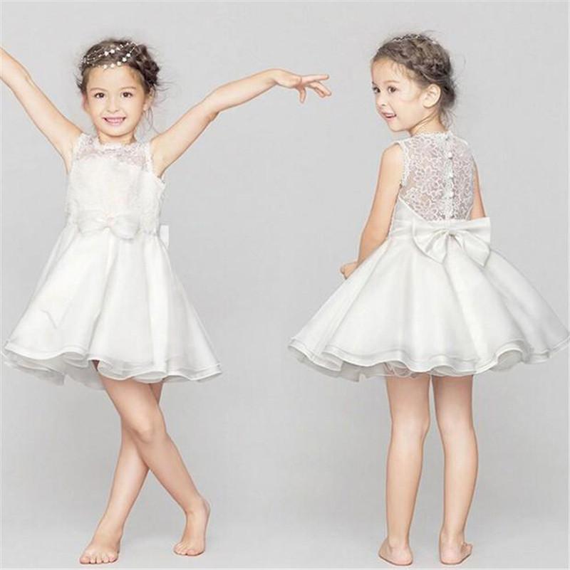 Zarif Kız Früt Elbise Kolsuz Net İplik Bebek Dantel Yelek Elbiseler Beyaz Gelinlik Parti Balo Elbise Çocuk Giysileri