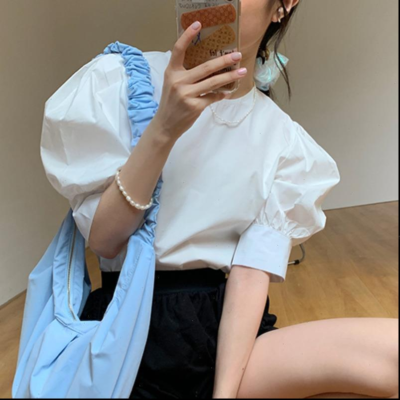 Summer Korean Chic Womens Shirts Sweet Women Shirt Cotton Fashion Casual Blouses Tops Female Puff Sleeve Clothing