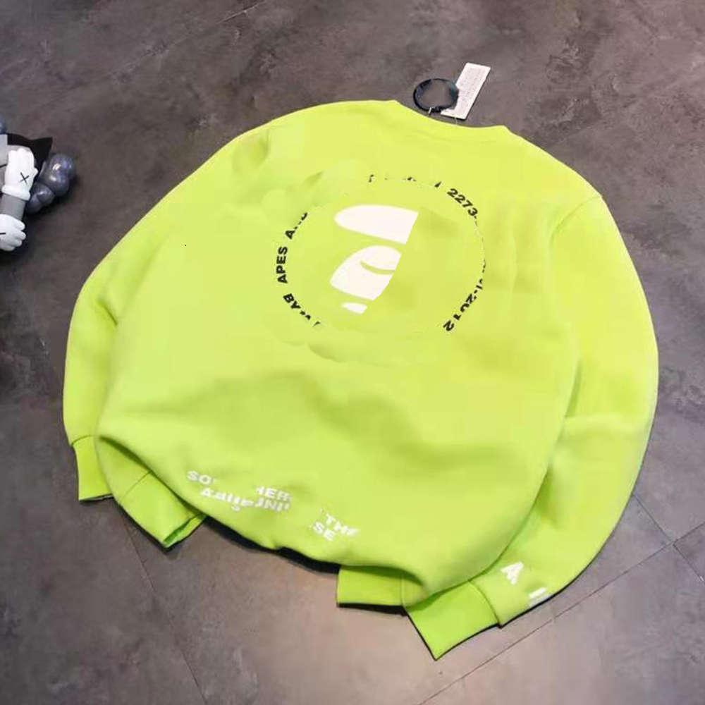 Hohe Qualität 1: 1 Hoodie Chao Marke AP2020 Herbst Winter Plüsch fluoreszierende grüne Druck Affe Mann Rundhals-Langarm-Pullover für Männer und Frauen