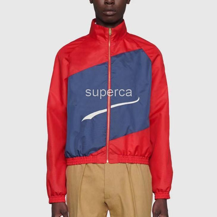 21ss design design de luxe de luxe vestes de sweats à capuche vert mode rouge contraste couleur patchwork broderie maquette maquette brise-vent manteau d'extérieur