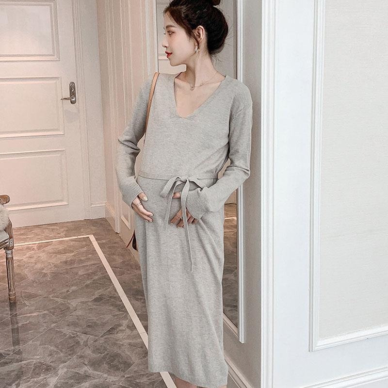 느슨한 플러스 사이즈 출산 드레스 스트레이트 니트 스웨터 옷 임신 한 여성용 모유 수유하기