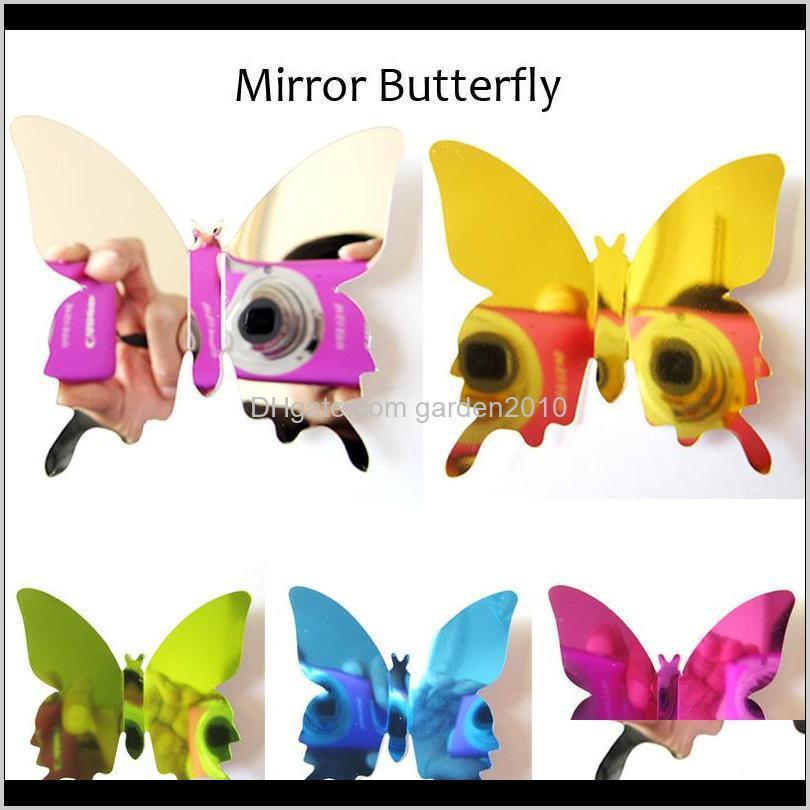Stickers 12Pcslot Pvc Diy 3D Mirror Butterfly Sticker For Wall Window Party Supplies Hves5 5Xtzc