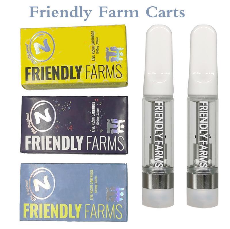 Friendly Farms Vapes Cartridges Vape Pens Carts Packaging Ceramic Atomizer Disposable Cart Glass 510 Thread Vaporizer 0.8/1.0 ML Thick Oil Tubes 3 Colors BOX