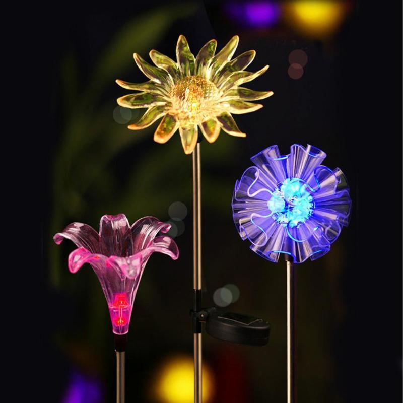 Party Decoration Solar Light Frost Resistance Flower Shape Plastic Decorative LED Colorful Outdoor Lotus Dandelion