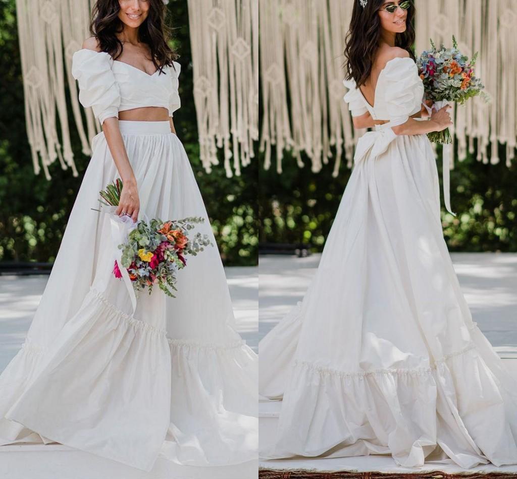 Two Pieces Wedding Dresses Off Shoulder A-Line Bridal Gowns with Bow Sweep Train Backless Summer Garden vestido de novia