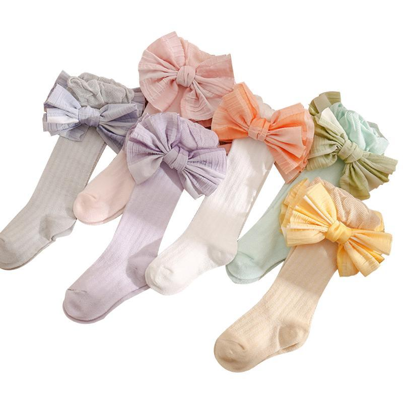 Calcetines Nacidos Baby Girls Boys Medias 6 Colores Bowknot Largos TUBO LEGGING TRACKSTS 0-3YEARS