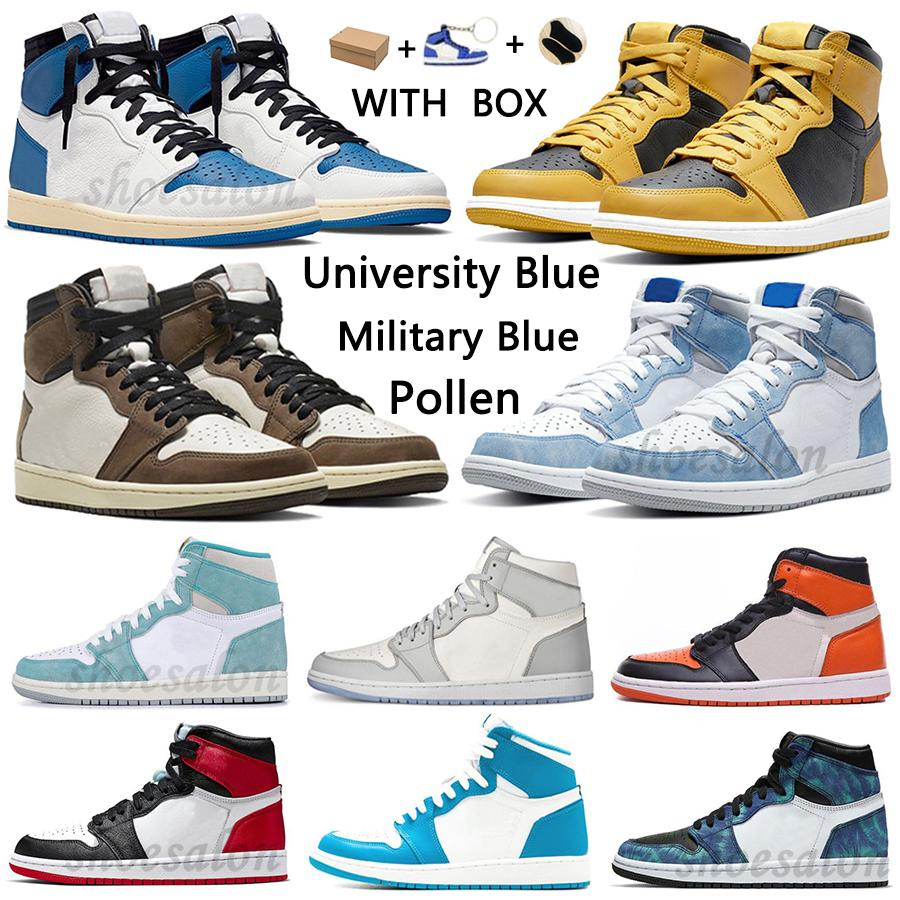 University Blue 1 أحذية كرة السلة 1 ثانية عالية رد فعل الظلام mocha الكهربائية البرتقال العسكرية unc ضوء الدخان رمادي hyper الملكي براءات البراءات اللقاح الرجال النساء أحذية رياضية