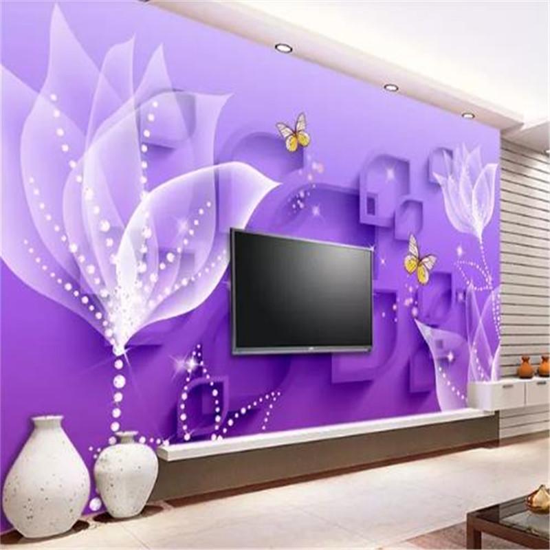 Пользовательские 3D обои фиолетовая лилия прозрачные цветы мода гостиная спальня фон стены дома декор росписи обои