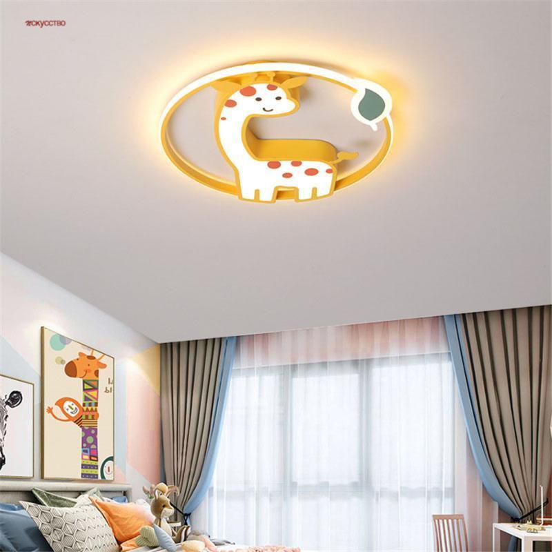 Tavan Işıkları Karikatür Zürafa Akrilik Demir Sanat LED Lamba Çocuklar Için Yatak Odası Çalışma Koridor Anaokulu Yaratıcı Değiştirilebilir Işık Fikstürü
