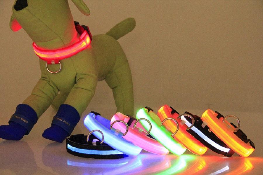 LED PET светящиеся ошейники тяговые веревочки ночь, мигающий нейлоновый проводник, используемый в темной среде или ходьба собака ночью