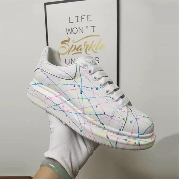 Luminous cor graffiti casal sapatos casuais homens e mulheres sapatilhas brancas fundo plano de alta qualidade lace-up sapatos casuais 36-46