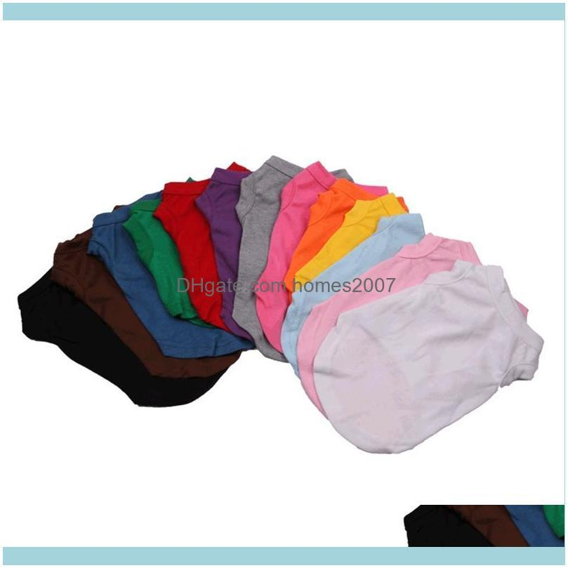Apparel Supplies Home & Gardenpet Puppy Cotton Solid Color T-Shirt Pet Spring Summer T Shirts Dog Sleeveless Animal Cat Clothes Bh2512 Drop
