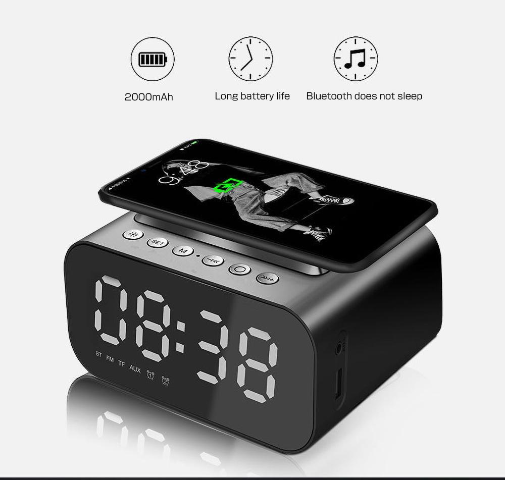 Kablosuz Şarj Saati Bluetooth Hoparlör LED Akıllı Dijital Masa Elektronik Masaüstü Saatler FM Radyo USB Hızlı Şarj