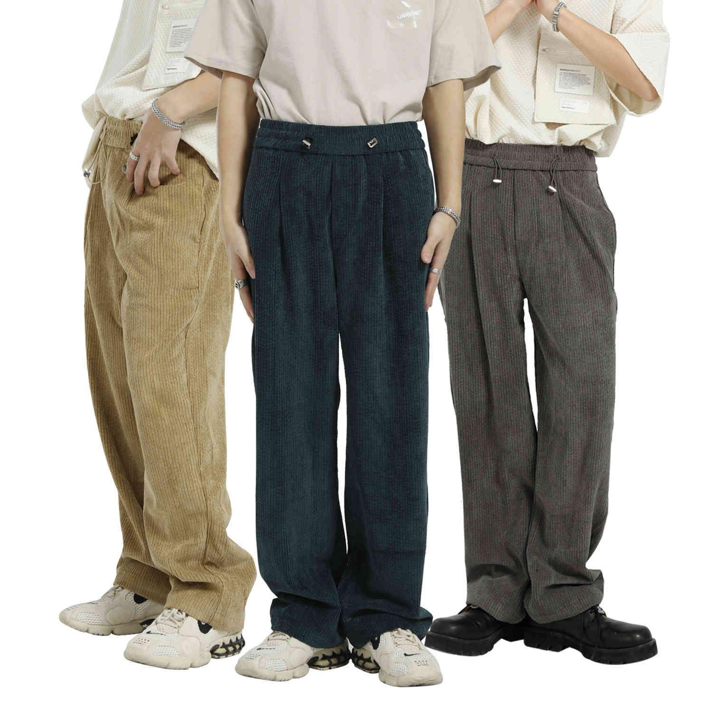 MTL hombres | 2021 Primavera y verano Nueva Tendencia de color sólido flojo coreano Personalizado Cintura elástica cordón Pantalones casuales