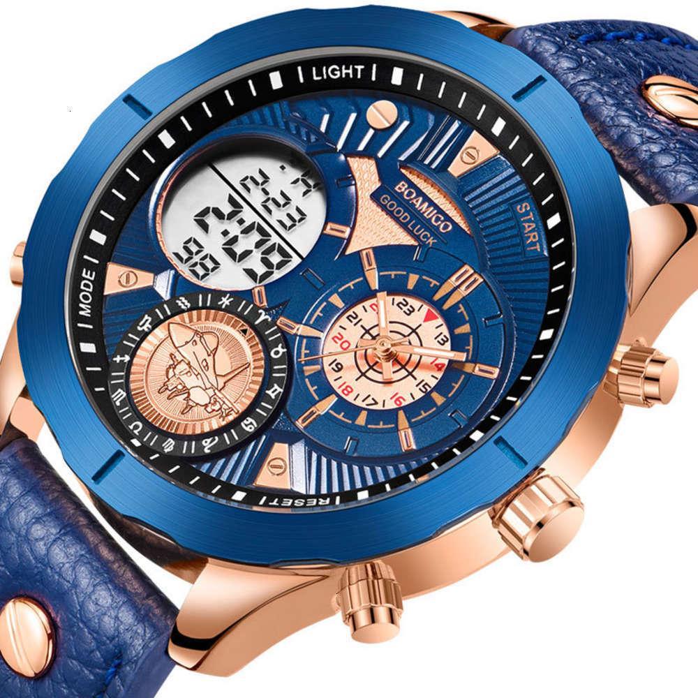 Relógios de pulso militar boamigo homens azul exposição dual relógio eletrônico xnll