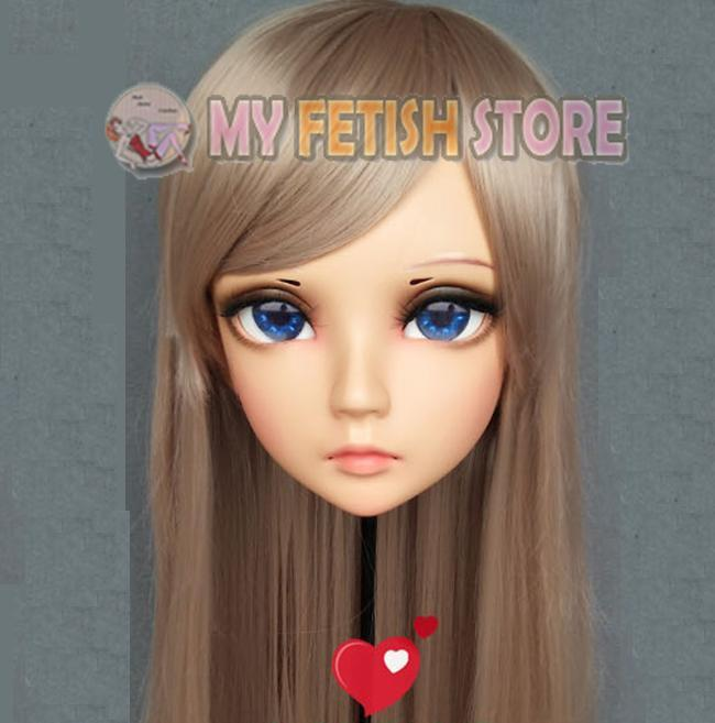 Máscaras de festa (x) feminino doce menina resina meia cabeça kigurumi bjd máscara cosplay japonês anime função lolita crossdress boneca