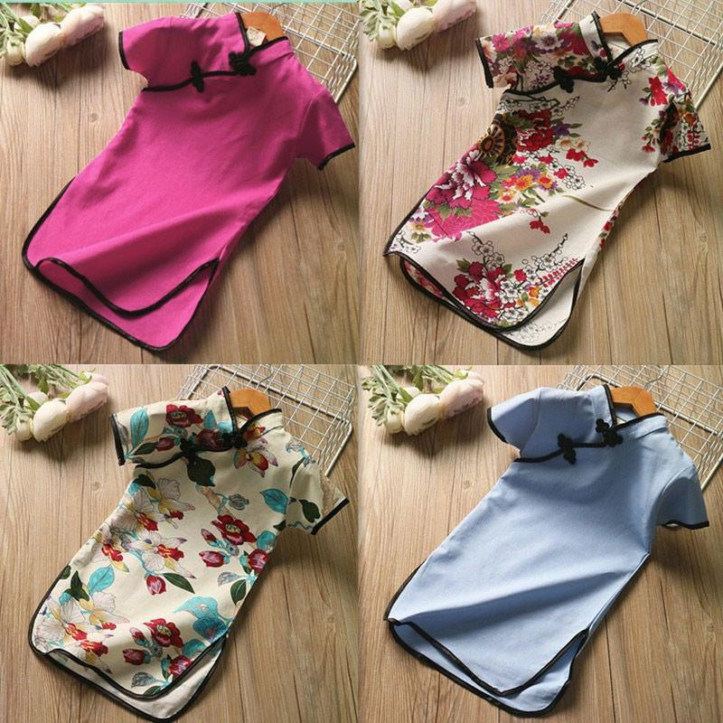 Piece Teen Summer Children'S Clothing Girls Ethnic Style Cotton And Linen Retro Printing Stand-Up Collar Cheongsam A-Line Dres Girl's Dresse