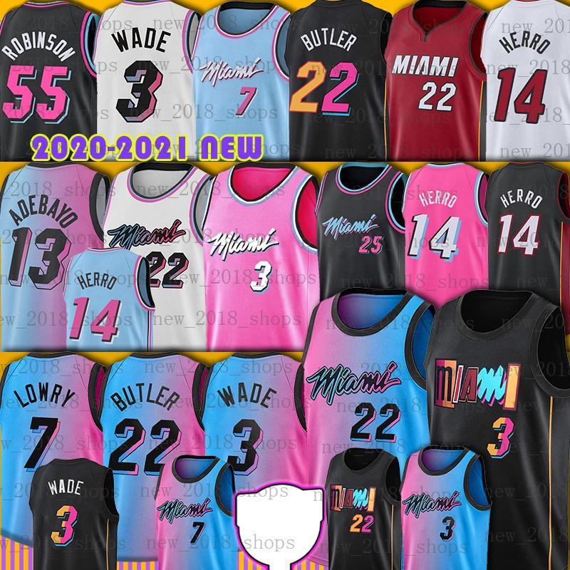 "Dwyane 3 Wade Jersey Basketball Jimmy 22 Butler Kyle 7 Lowry Tyler 14 HERRO BAM 13 ADEBAYO 55 ROBINSON 2022 NUEVO HOMBRES DE HOMBRES TEMPORADA MIAMIS JERSEYS HOMBRES MENA NCAA Miami ""Calor"