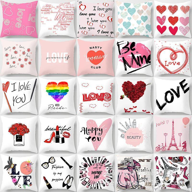Kissen / dekorative Kissen Valentinstagtag Liebe Sofa Benutzerdefinierte quadratische Pfirsich Haut Weiß Dekorative Kissen
