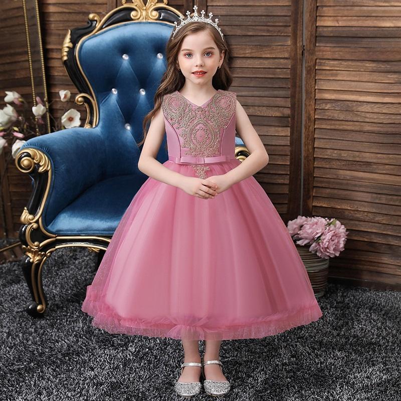 الدانتيل زهرة فتاة اللباس مع تنورة كاملة الاطفال ملابس الاطفال بنات الكرة ثوب