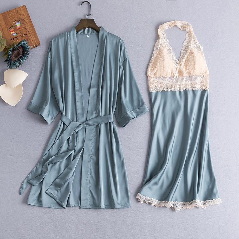 Women's Sleepwear Robe Suit Sexy Satin Women Lace Trim Kimono Gown Bride Bridesmaid Wedding Bathrobe Loose Casual Summer Home Dressing