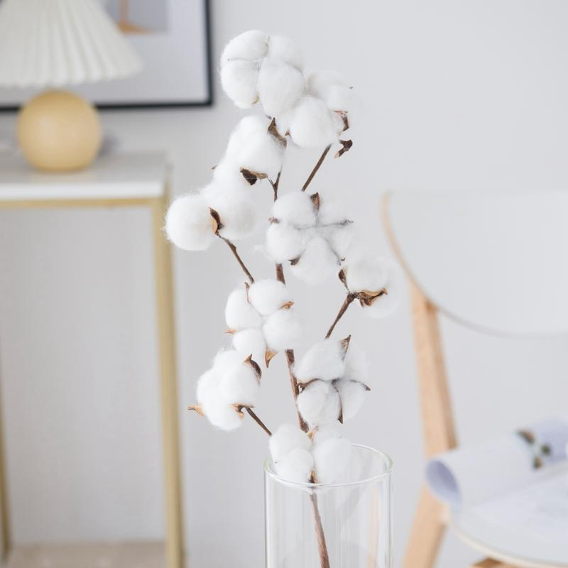 Decorative Flowers & Wreaths 10 Heads Dried White Cotton Artificial Wedding Vases For Home Decor Christmas Crafts Festive Gifts