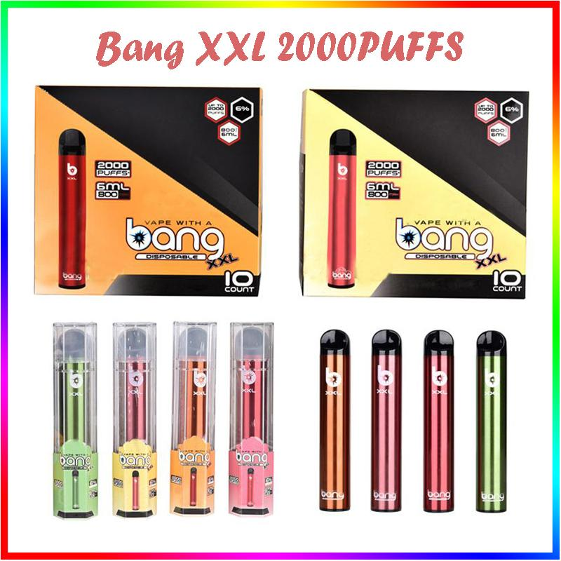 Bang XXL Einwegvapes E Zigaretten Gerät 800mAh Batterie Vorgefüllt 6ml Pod 2000 Puffs XXtra Kits Vape Pen vs Pufft Flow Xtra Puff Plus