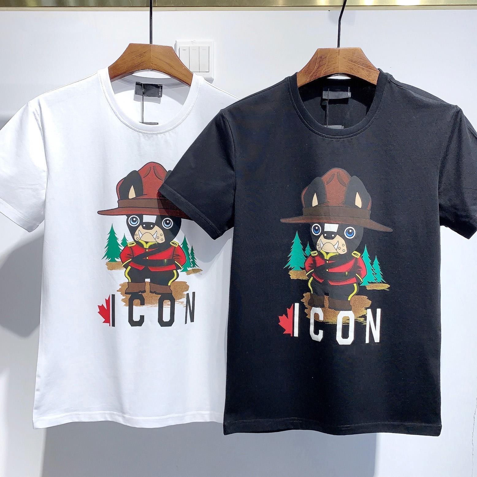 2021 패션 아이콘 디자이너 망 여성 T 셔츠 # DT072 여름 클래식 메이플 잎 티즈 필수품 흰색 글자 인쇄 캐주얼 의류