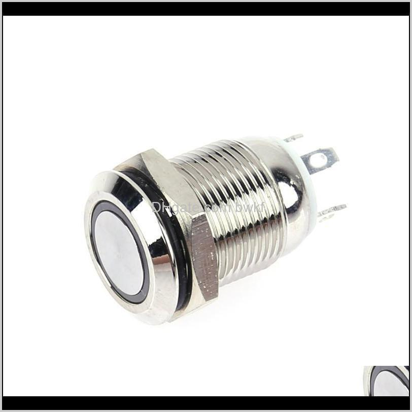 Aessories Supplies Electronic Components Office School Business & Industrial12Mm 3V Red/Blue Led Light Metal Switches Stainless Steel Waterpr