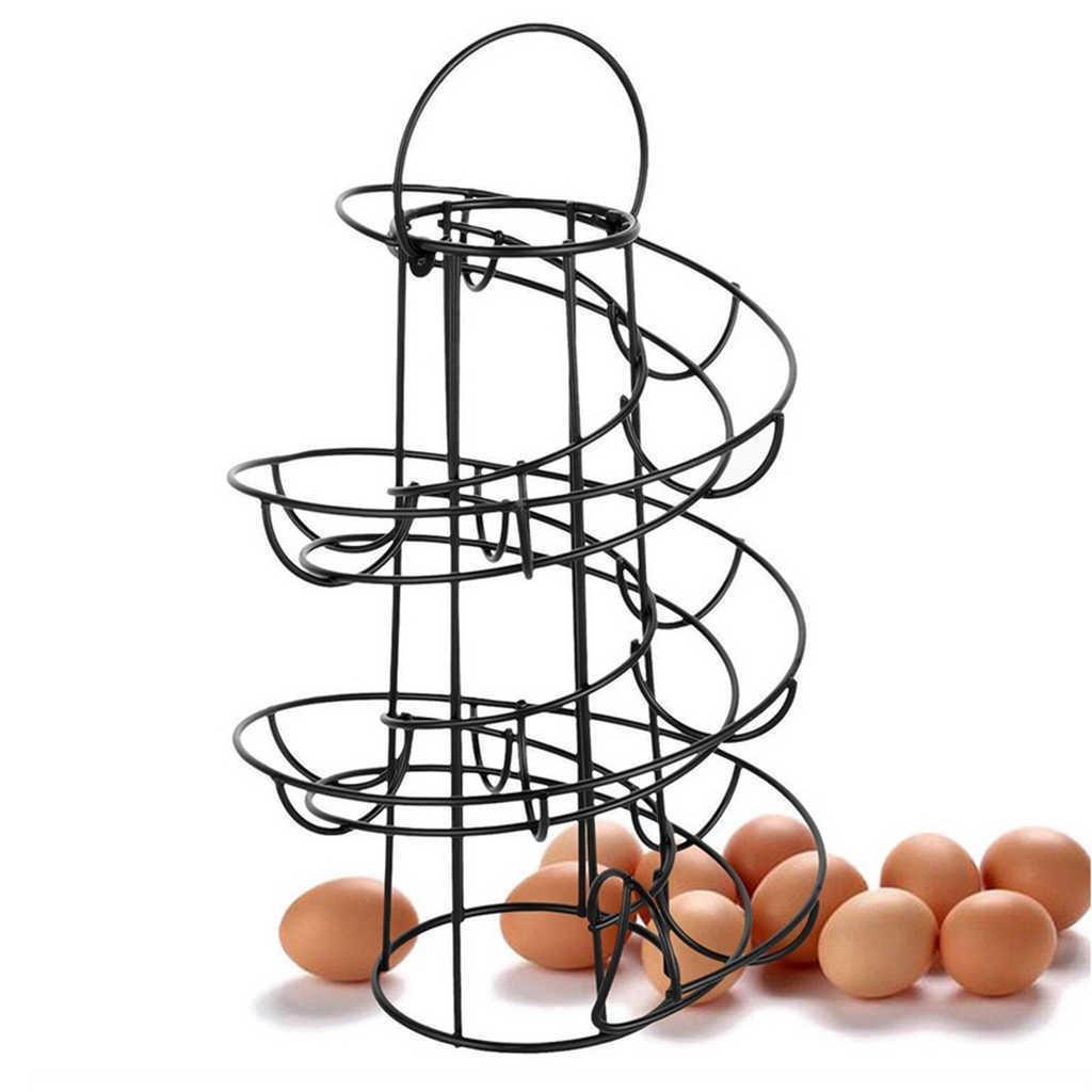 Moderno Hierro Spiral Hoder Holder Art Exhibir Restaurante Basket Storage Rack Deluxe Espiral Dispensador Basket Rack Rack 24 Huevos Y0622
