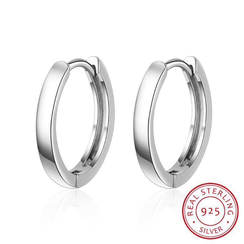 Boucles d'oreilles rondes lisses Véritable 925 Sterling Argent 14mm pour hommes Femme Femme Cercle branché épais que la normale une Huggie