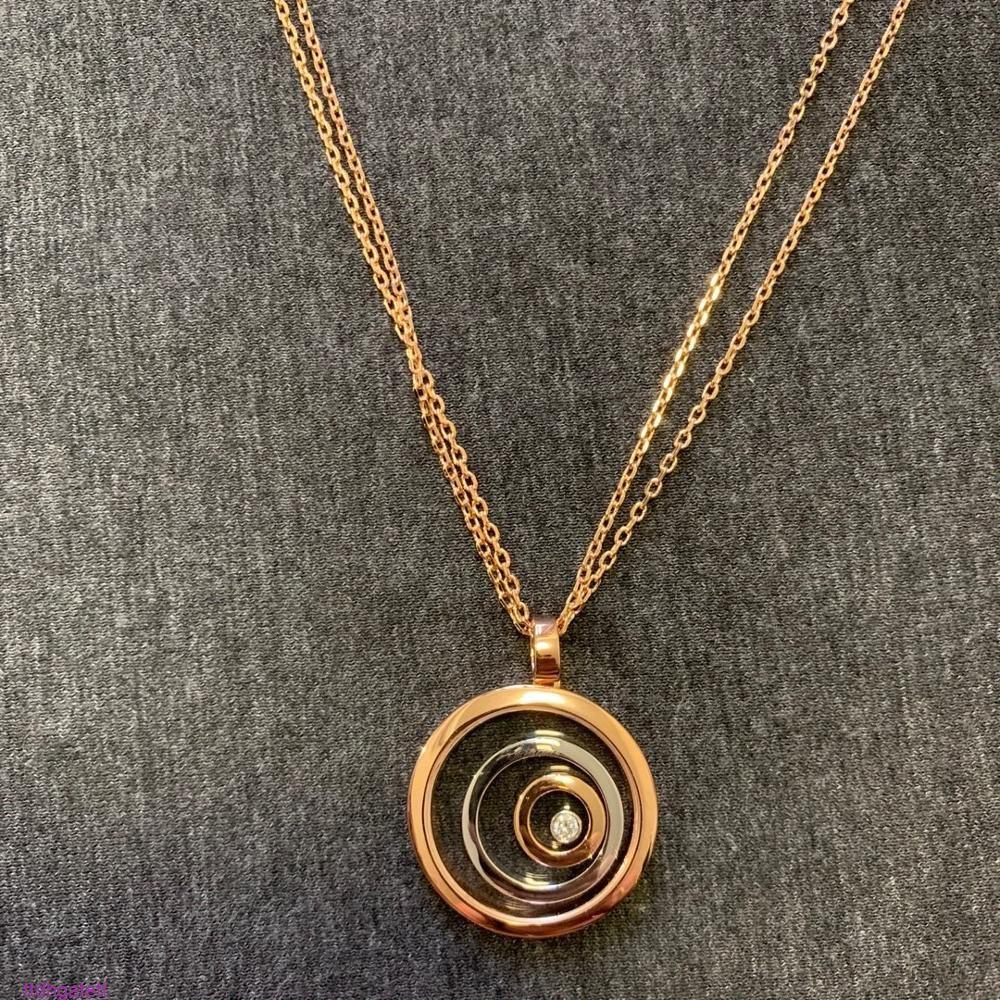 라운드 하트 펜던트 긴 체인을위한 브랜드 순수한 925 스털링 보석 행복 장미 골드 necklacecz17