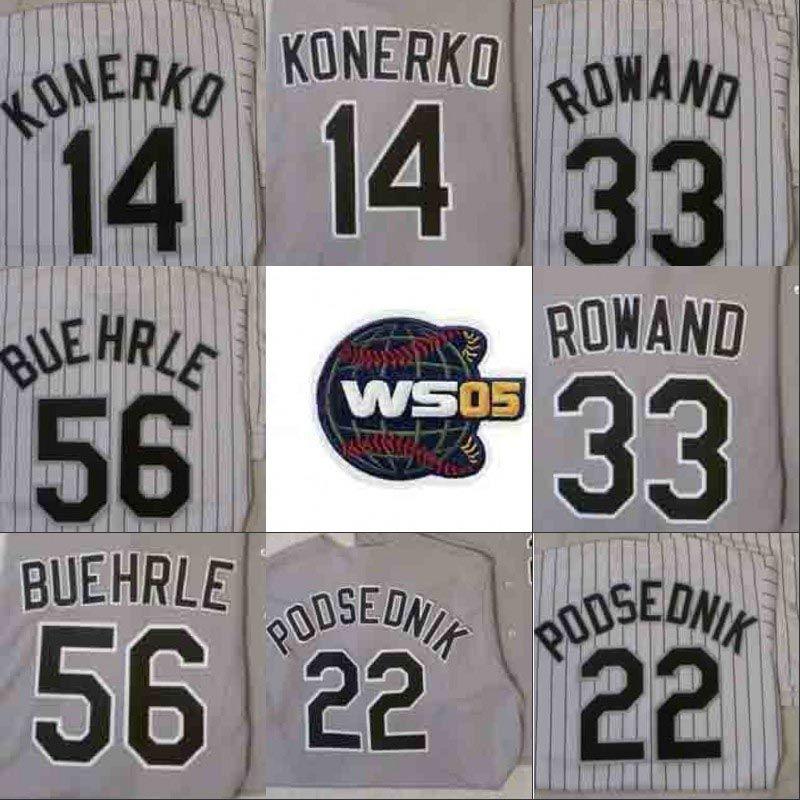 2005 WS Champions Baseball Jersey Chicago AJ Pierzynski Paul Konerko Scott Podsednik Joe Creda Frank Thomas Chris Sale Mark Buehrle Jermaine Dye Camisas