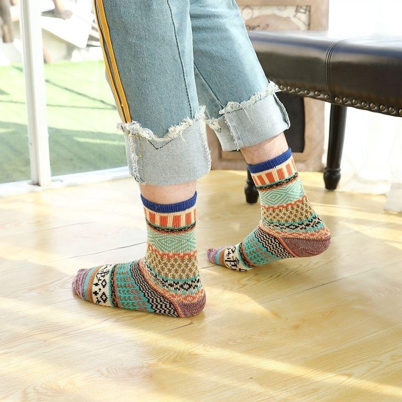 EQ9 otoño e invierno personalizado nación cálida grupo étnico estilo de hombre algodón engrosado sockswinter calcetines de algodón caliente