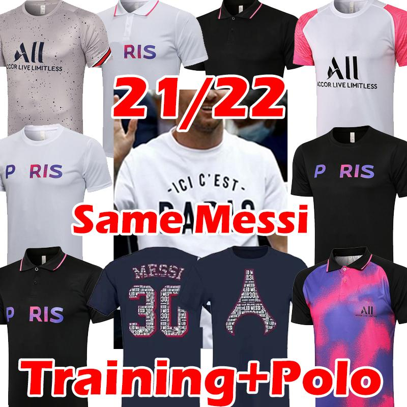 21/22 Messi Lates Futbol Formaları Mbappe Icardi di Maria Kean Marquinhos Eğitim Polo T Gömlek Üniforma 2021 2022 Futbol Jesey Maillots de Foot Camisetas Futebol