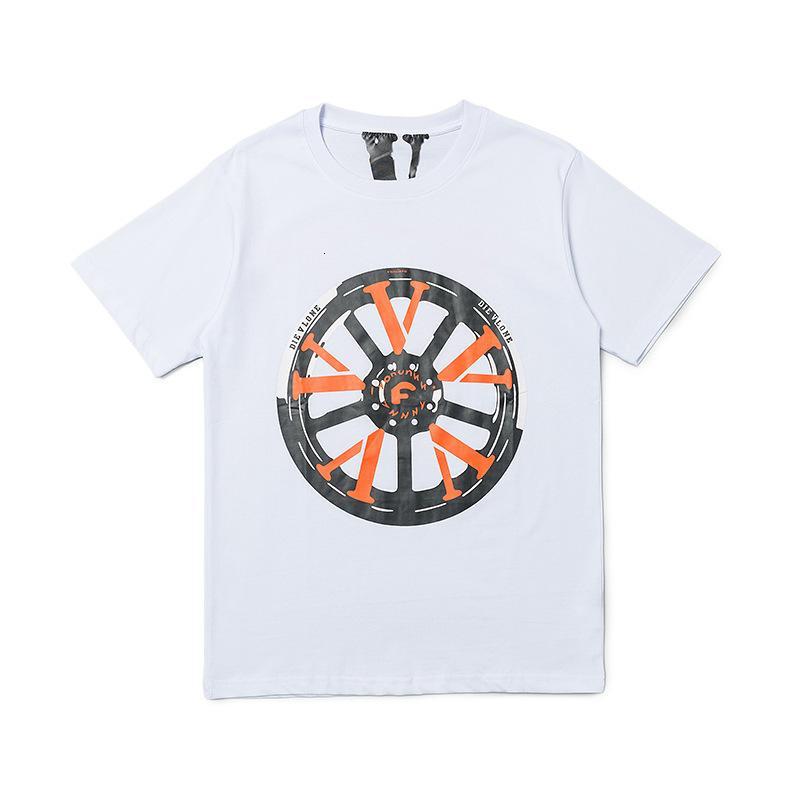 Мужская футболка дизайнерский бренд Wang мода Yibo та же колесо печати ограниченная пара большие V свободно и WO BF с короткими рукавами