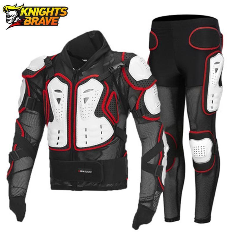 Motosiklet Ceket + Pantolon Moto Motocross Yarış Vücut Zırhı Koruyucu Dişli Guard Equiment 4 Sezon Giyim için