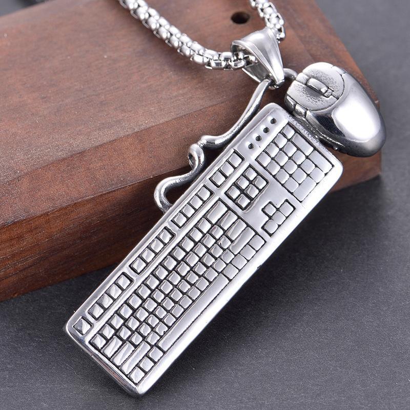 Colar de jóias personalidade criativa rato teclado homens hip hop titanium aço pingente nelace