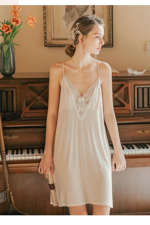 Mulheres Sleepwear Alto Grau Estilingue Camisola Feminina Verão Nightgown Sexy Dress Dress Lace Fina Confortável Fada Sleepwear Mulheres Nightshirt 7un2