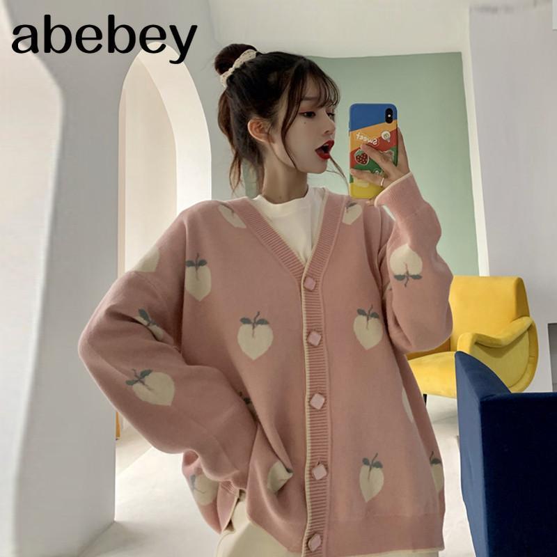 스웨터 카디 건 귀여운 핑크 코트 여성 복숭아 패턴 니트 대형 재킷 2021 한국 가을 긴 소매 끌어 오기 웨이트 티
