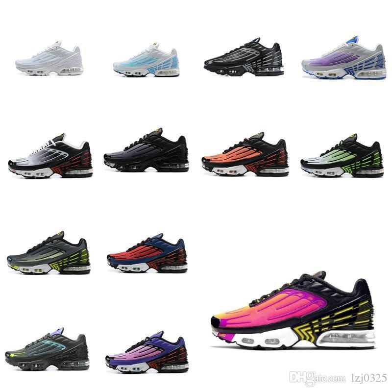 2021 MENS TN Plus 3 III sintonizado zapatos Botas Triple White Wolf Wolf Grey Blanche TN3 Sneakers Sports Tamaño 40-45