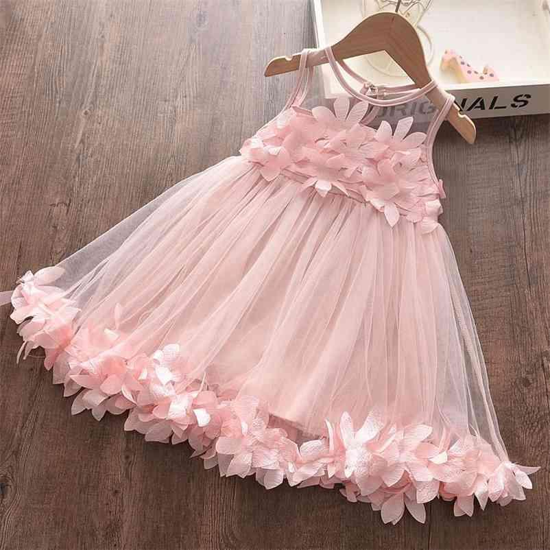 Bärleiter Mädchen Kleid Neue Sommer Prinzessin Kleid Elegante Spitze Halbhülse Kostüme Party Kleider Kinder Kleidung 3 7Y 210402