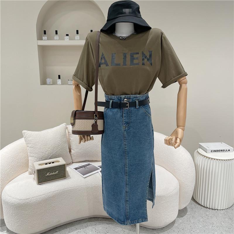 Niş Tasarım Denim Etek İki Kadın Ortak Parçalar Yaz Moda Letter-Gömlek Yüksek Bel Ortalama Uzunluğu Bölüm Hattı