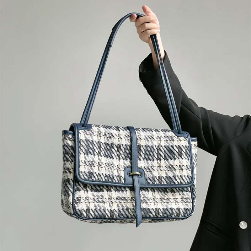 Borse da sera Piccolo Blue Canvas Tote Bag Stray Allasquable Borses Grande Capacità Femminile Wild Crossbody Lattice Borse Donne Designer